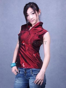 China Embroidered Paillette Blouse---Dark Red on sale