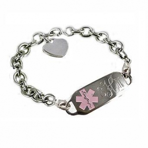 China Item# DACT20- Deluxe Sterling Oval Link Medical ID Bracelet 2 lobster clasps (Detachable) on sale