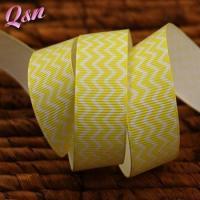 7/8 Inch yellow Chevron Print Grosgrain Ribbon
