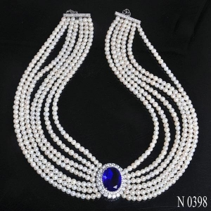 China Necklaces N398 Luxurious Style Expensive Freshwater Pearl Necklace Jewelry on sale
