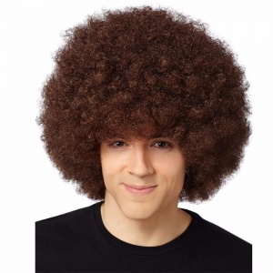 China Pro's Brown Afro Wig Halloween Costume Party Wig 70's Retro Disco Fro Curly on sale