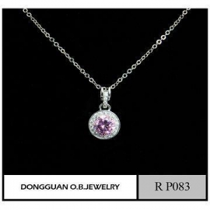 China Pendants Pink Color Single Stone Pendant Necklace/silver Plated Classic Design on sale