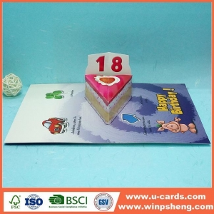 China Die Cut Handmade Birthday Pop Up Cards on sale