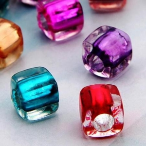 China 100X Plastic Beads 7mm colored cubes Crafts on sale
