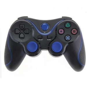 China Bluetooth Game Controller Gamepad Joystick for PS3 Playstation 3 Black+Blue on sale