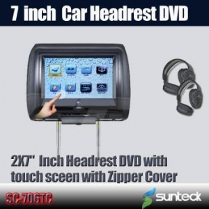 China 7 inch car headrest DVD player with touch screen FM Transmitter on sale