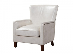 China White Leather Single Armchair on sale
