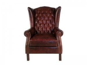 China Wing Back Vintage Leather Armchair on sale