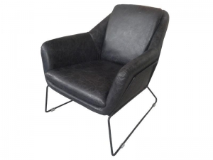 China Black Real Leather Metal Base Industrial Armchair on sale