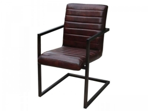 China Tubular Frame Industrial Vintage Leather Chair on sale