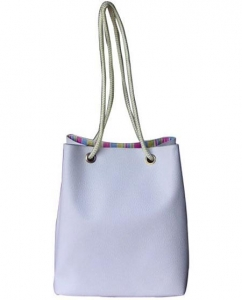 China Lady White Rope Tote Bag With Large Roomy on sale