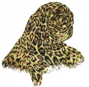 China Print Scarf Leopard Print Long Scarf with Fringe on sale