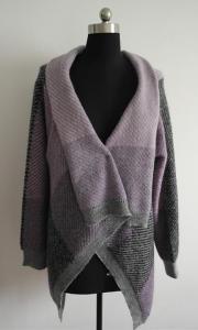 China Fashion Women Jacquard Knit Poncho Sweater on sale