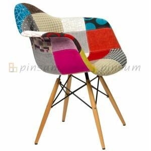 China Eames Full Fabric Covered Armchair with Wood Leg on sale
