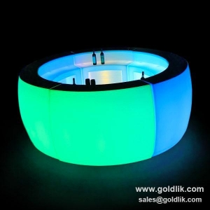 China GLACS Music Control RGB Color Changing Modern Reception Counter Pub Bar Counter on sale
