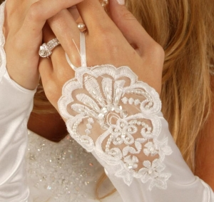 China Ruched Fingerless Bridal Gloves on sale