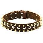 China S57 - 3 Rows Leather Dog Collar with Nickel Studs and Brass Spikes on sale