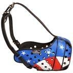China Patriotic American Flag Hand Painted Leather Muzzle on sale