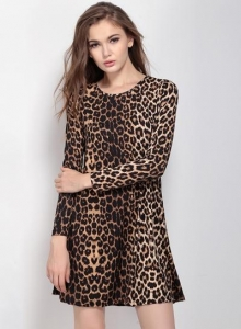 China Women's Leopard Print Long Sleeve A-Line Dress on sale