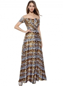 China Women's Leopard Print Off Shoulder Prom Dress on sale