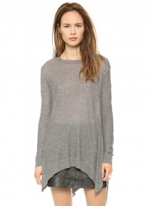 China Women's Solid Color Asymmetric Hem Knit Sweater on sale