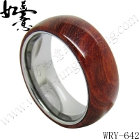 New Tungsten Rings Red Sandal Wood Inlay Tungsten Ring WRY-642
