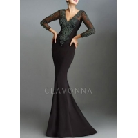 China V-Neck Long Sleeve Evening Dress Canada With Crystals 1508535 on sale