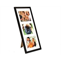 5 x 7 Collage Picture Frame for Table or Wall, White Mat Displays 3 Photos - Black