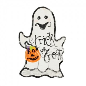 China Handpainted Trick or Treat Ghost Halloween Sign 12 Wood Sign on sale