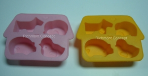 China silicone ice cube tray 4 shapes mixed mould on sale