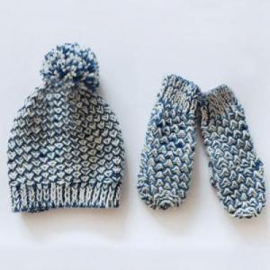 China Knittings Women AB basic Mitten&Pom beanie on sale