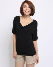China O-neck/v-neck tshirt OEM Service 100% Cotton V-neck simple design women blank t shirts on sale