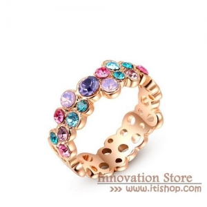 China Christmas Gift Beauty Cubic Zircon Colorful Stone Big Rings on sale