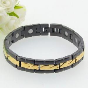 China Hot Selling Fashion black gold just make for you magnet titanium bracelet on sale