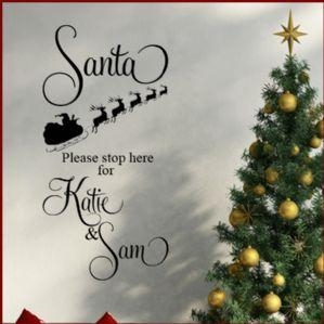 China Personalised Childrens Santa Stop Here Christmas ~ Wall sticker / decals on sale