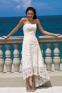 China Beach Sheath/column Asymmetrical Sweetheart Wedding Dress on sale