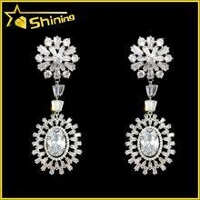 China top quality wedding jewelry with white cz diamond paved latest hanging earrings on sale