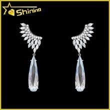 China top quality white cubic zirconia diamond teardrop shaped fashion angel wing earrings on sale