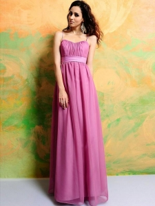 China Fall Chic & Modern Sheath/Column Spaghetti Straps Sash Pink Bridesmaid on sale