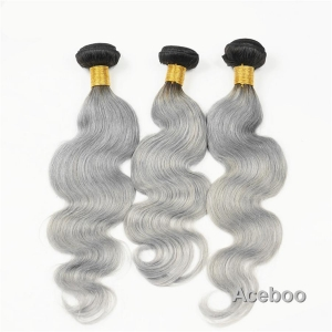 China 100% Virgin Indian Human Hair Weft, Cheap Wholesale, Body Wave 1B And Silver Grey Ombre Hair Weft on sale
