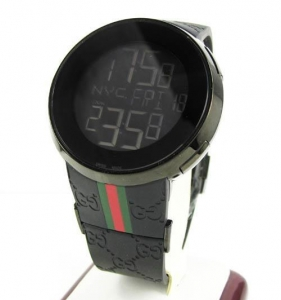 China Mens Igucci Black Stainless Steel Digital Watch on sale