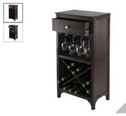 China Winsome Ancona Modular 24 Bottle Wine Cabinet with One Drawer and Stemware Rack on sale