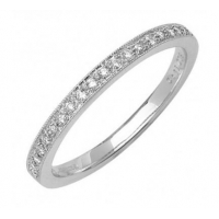 9ct White Gold Diamond Half Eternity Ring 0.12ct