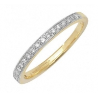 9ct Yellow Gold Diamond Half Eternity Ring With Grain Setting 0.12ct