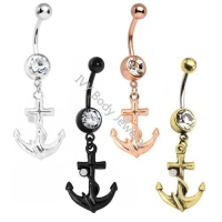 Anodized Anchor Designed Crystal Belly Button Ring