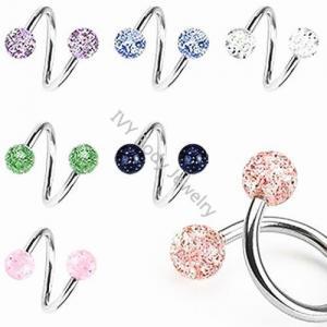 China Acrylic Glitter Ball Twister Ear Piercing on sale