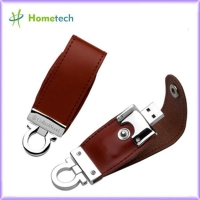 Brown / Black Customized Leather Usb Flash Drives