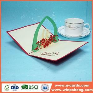 China Handmade Card Beautiful 3d Flower Pop Up Anniversary Card Design on sale