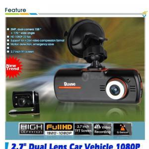 China 2.7 1080P HD Dual Lens Car Vehicle Dash Camera DVR Cam Night Vision Recorder on sale