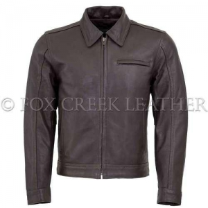 China Leather Motorcycle Jackets Men's Brown Vintage Leather Jacket on sale